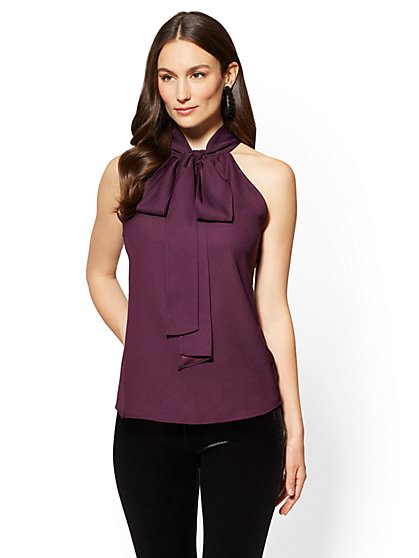 7th Avenue - Pleated Halter Blouse - New York & Company