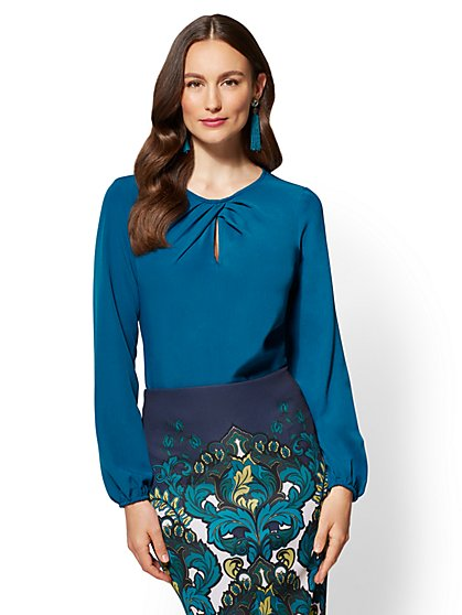 7th Avenue - Pleated Keyhole Blouse - Blue - New York & Company
