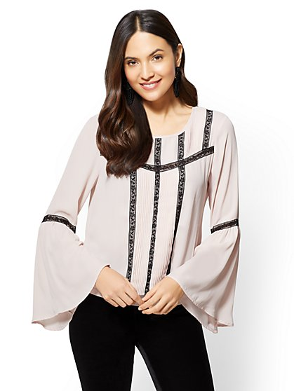 7th Avenue - Pleated Lace-Trim Blouse - New York & Company