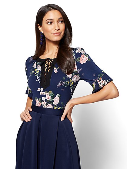 7th Avenue - Pleated-Sleeve & Lace-Up Top - Navy - Floral - New York & Company