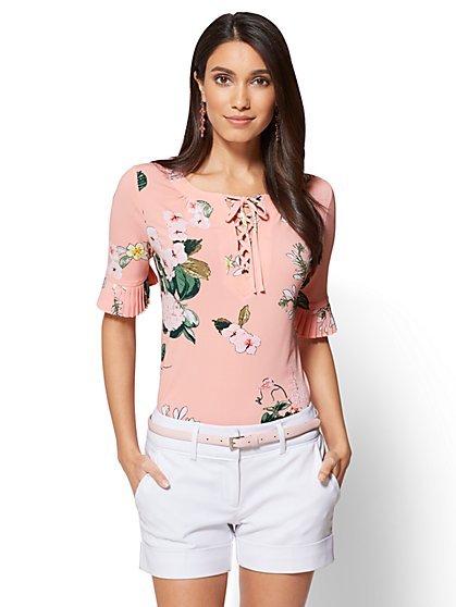 7th Avenue - Pleated-Sleeve & Lace-Up Top - Peach - Floral - New York & Company