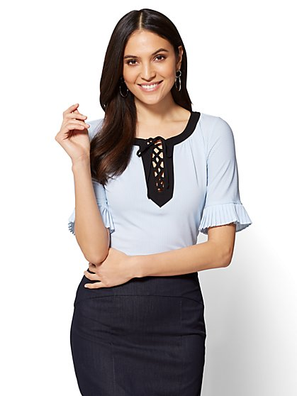 7th Avenue - Pleated-Sleeve & Lace-Up Top - Stripe - New York & Company