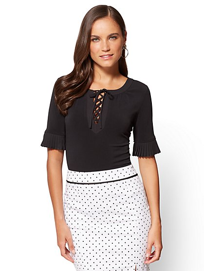 7th Avenue - Pleated-Sleeve & Lace-Up Top - New York & Company