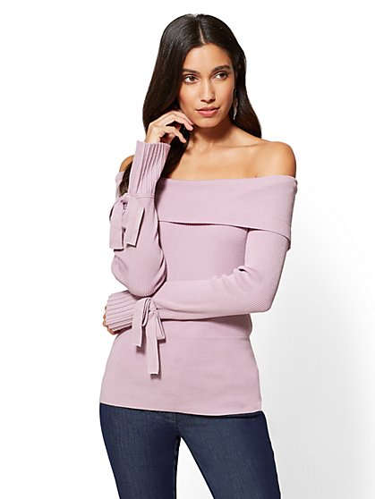 7th Avenue - Pleated-Sleeve Off-The-Shoulder Sweater - New York & Company