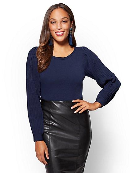 7th Avenue - Pleated-Sleeve Scoopneck Sweater - New York & Company