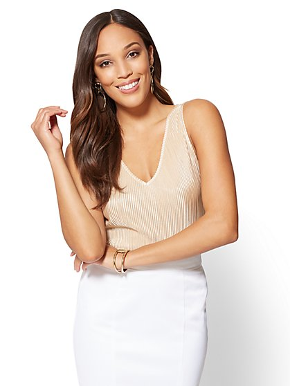 7th Avenue - Pleated V-Neck Shell - New York & Company
