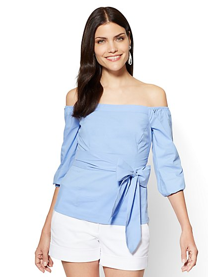 7th Avenue - Poplin Off-The-Shoulder Shirt - New York & Company