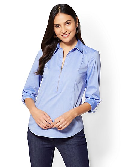 7th Avenue - Popover Madison Stretch Shirt - Blue  - New York & Company