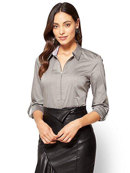 7th Avenue - Popover Madison Stretch Shirt - Grey  - New York & Company