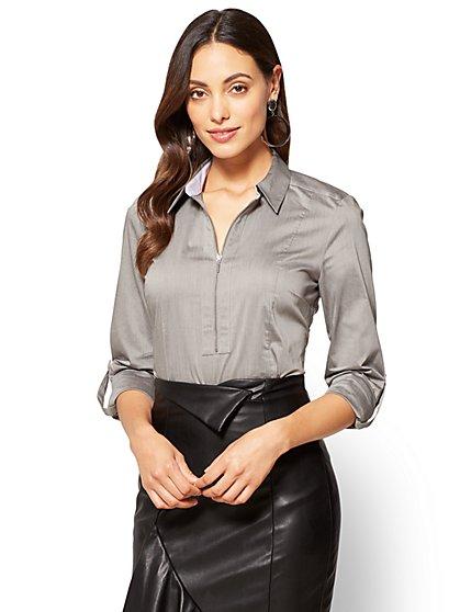 7th Avenue - Popover Madison Stretch Shirt - Grey  - New York & Company