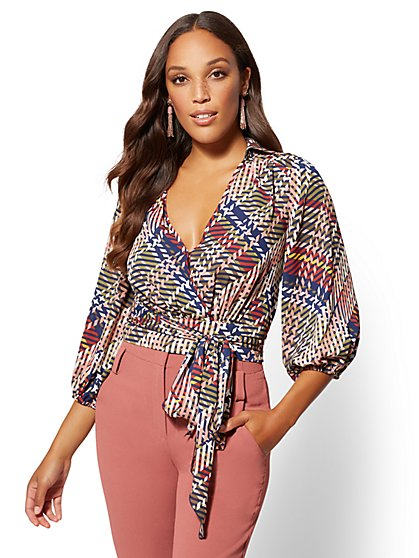 7th Avenue - Print Belted Wrap Blouse - New York & Company