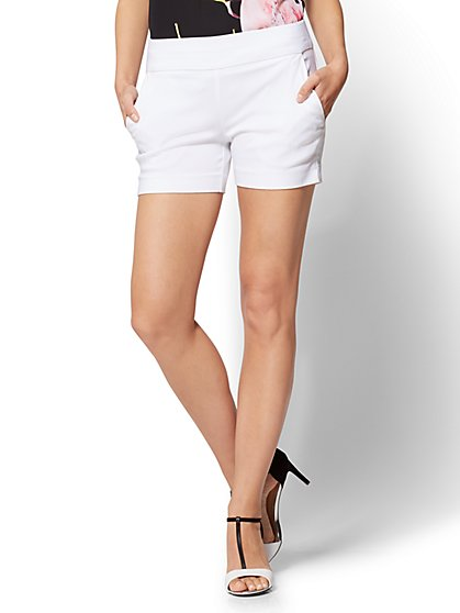 7th Avenue - Pull-On 4 Inch Short - Signature - White - New York & Company