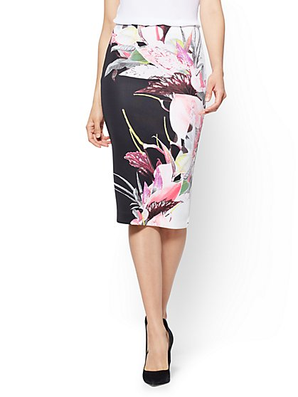 7th Avenue Pull-On Pencil Skirt - Black Floral - New York & Company