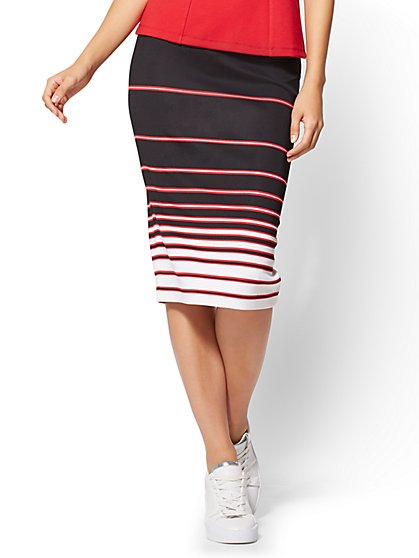 7th Avenue - Pull-On Pencil Skirt - Black - Stripe  - New York & Company