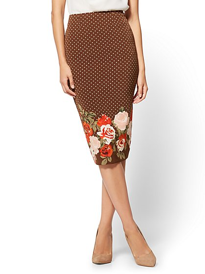7th Avenue - Pull-On Pencil Skirt - Brown - Mixed Print  - New York & Company