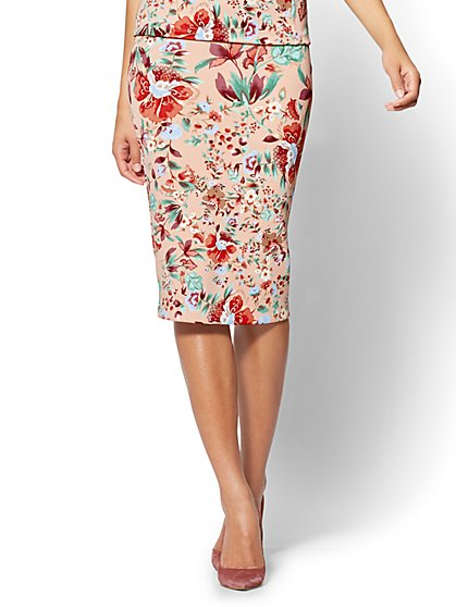 7th Avenue Pull-On Pencil Skirt - Floral - New York & Company