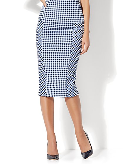 7th Avenue - Pull-On Pencil Skirt - Gingham - Petite - New York & Company