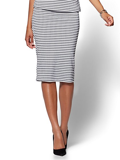 7th Avenue Pull-On Pencil Skirt - Gingham - New York & Company