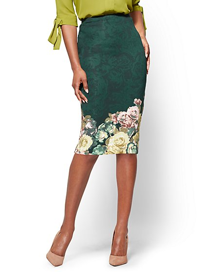 7th Avenue - Pull-On Pencil Skirt - Green - Floral - New York & Company