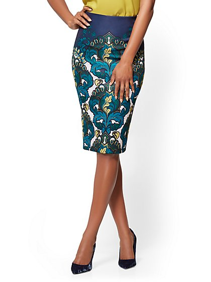 7th Avenue - Pull-On Pencil Skirt - Medallion Print - New York & Company