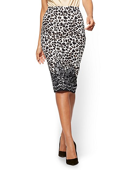 7th Avenue - Pull-On Pencil Skirt - Mixed Print  - New York & Company