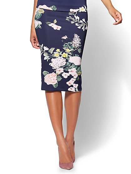 7th Avenue Pull-On Pencil Skirt - Navy Floral - Petite - New York & Company