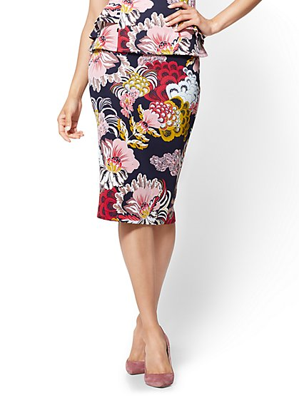 7th Avenue - Pull-On Pencil Skirt - Navy Floral - New York & Company