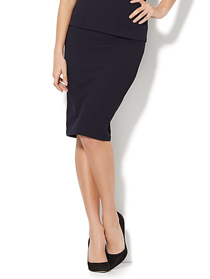 7th Avenue - Pull-On Pencil Skirt - Navy - New York & Company