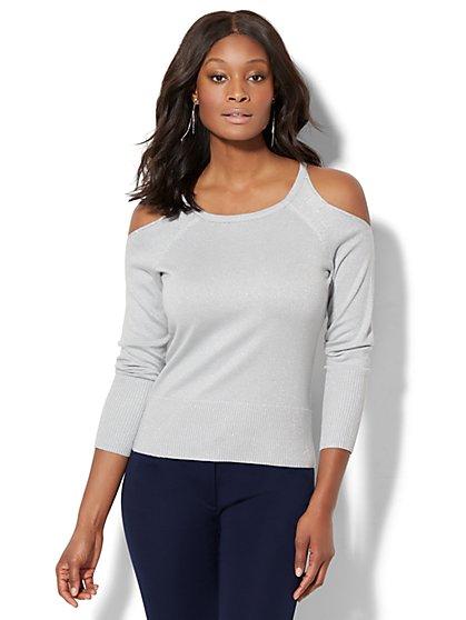 7th Avenue - Rhinestone Lurex Cold-Shoulder Sweater - New York & Company