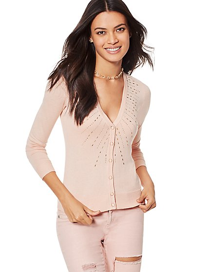 7th Avenue - Rhinestone V-Neck Chelsea Cardigan - New York & Company