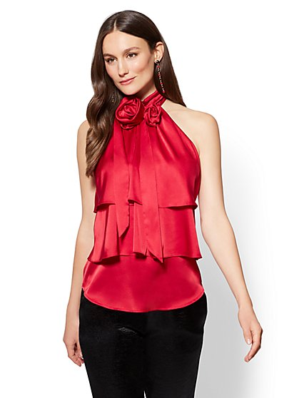 7th Avenue - Rosette Halter Blouse - New York & Company