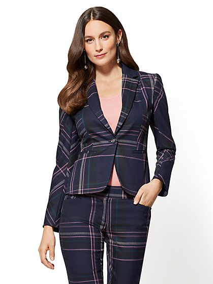 7th Avenue - Ruffle-Back One-Button Jacket - Plaid - New York & Company