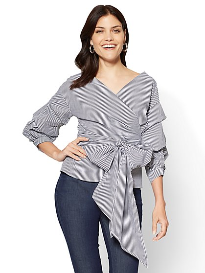 7th Avenue - Ruffle-Sleeve Wrap Shirt - Stripe - New York & Company