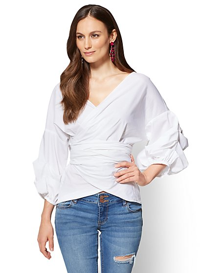 7th Avenue - Ruffle-Sleeve Wrap Shirt - New York & Company