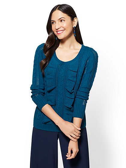7th Avenue - Ruffled Cable-Knit Sweater - Blue - New York & Company