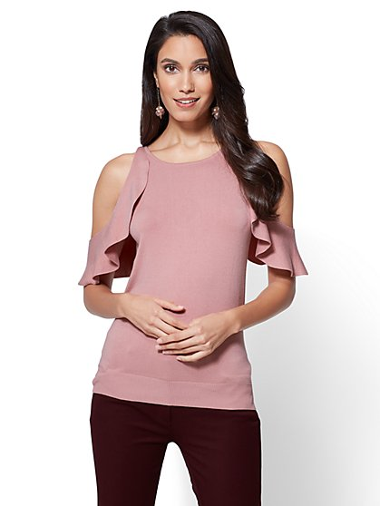 7th Avenue - Ruffled Cold-Shoulder Sweater - New York & Company