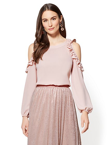 7th Avenue - Ruffled Cold-Shoulder Tunic Blouse - Tall - New York & Company