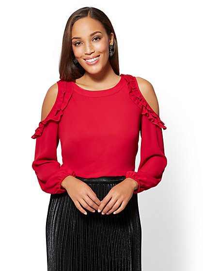 7th Avenue - Ruffled Cold-Shoulder Tunic Blouse - New York & Company
