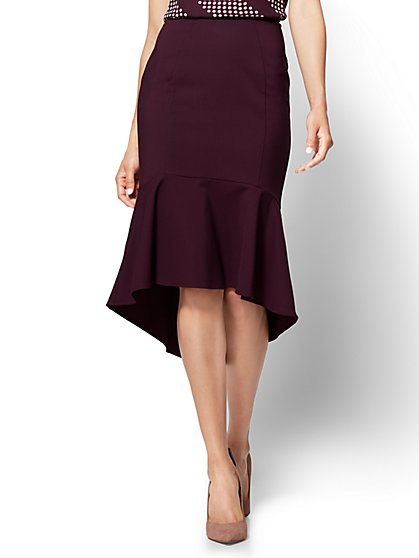 7th Avenue - Ruffled Fit and Flare Skirt - All-Season Stretch - Burgundy - New York & Company