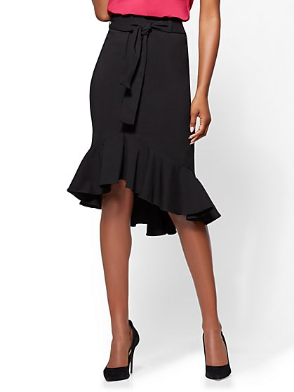 7th Avenue - Ruffled Flare Skirt - Black - New York & Company