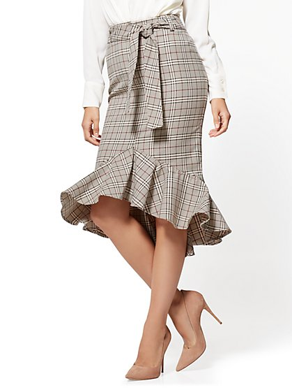 7th Avenue - Ruffled Flare Skirt - Camel - Plaid - New York & Company
