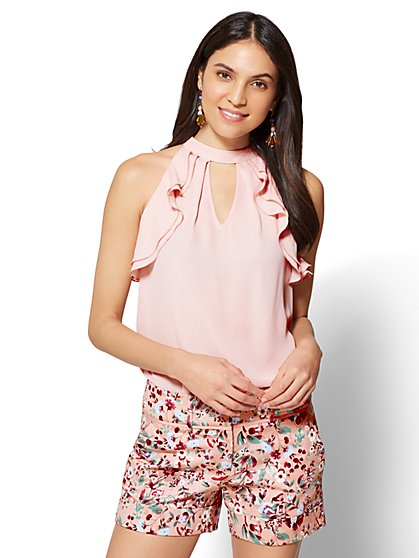 7th Avenue - Ruffled Halter Blouse - New York & Company