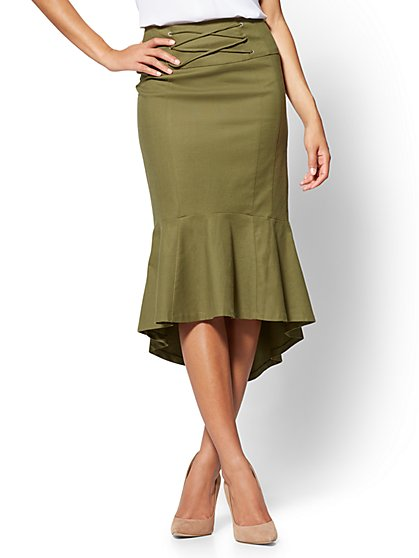 7th Avenue - Ruffled Lace-Up Skirt - New York & Company