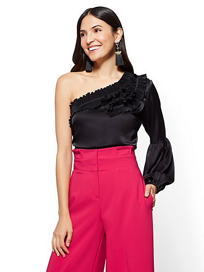 7th Avenue - Ruffled One-Shoulder Blouse - New York & Company