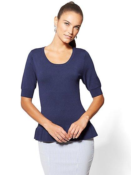 7th Avenue - Ruffled Peplum Sweater - New York & Company