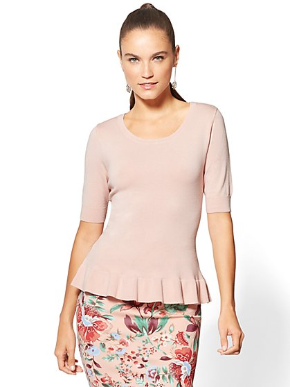 7th Avenue - Ruffled Peplum Sweater - New York & Company