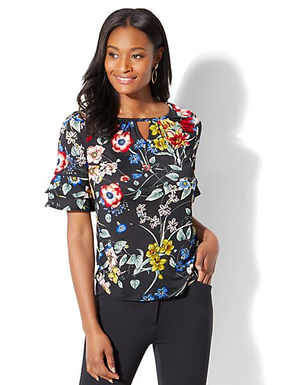 7th Avenue - Ruffled Short-Sleeve Top - Floral Print - New York & Company