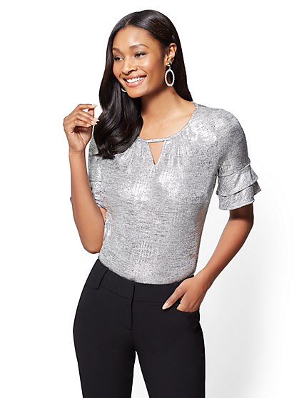 7th Avenue - Ruffled-Sleeve Keyhole Top - Silver - New York & Company