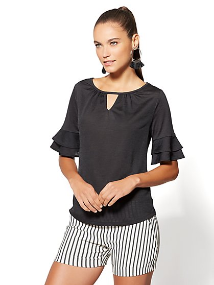 7th Avenue - Ruffled-Sleeve Keyhole Top - New York & Company