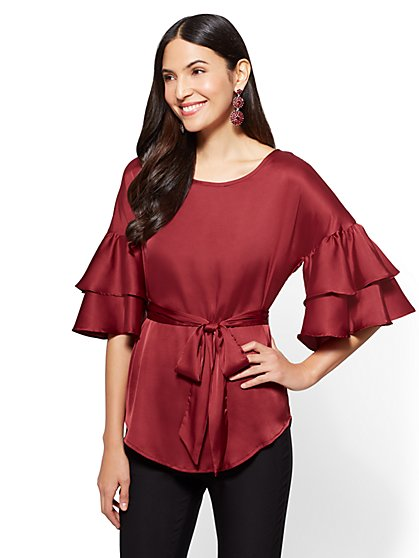 7th Avenue - Ruffled-Sleeve Satin Blouse - New York & Company